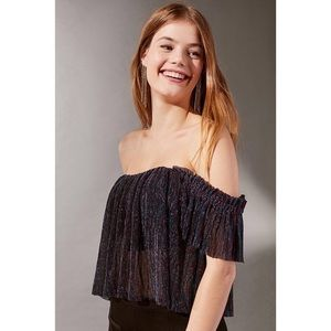 UO Pleated Shimmer Off-The Shoulder Top